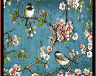 Birds and blossoms pictured on 4 decoupage paper napkins, lots more napkin designs in my shop stampsandmore
