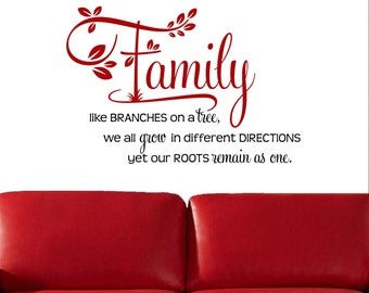 Family, Like Branches on a Tree......Vinyl Wall Decal*****FREE Shipping****** Art Wall Decor Wall Words