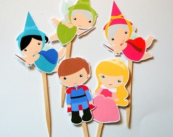 Sleeping Beauty Princess Party Cupcake Toppers Set of 12