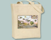 Hawaii Vintage Map Postcard Natural or Black Canvas Tote-- Selection of sizes available