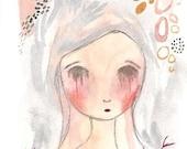 ACEO Original, Sad Girl Illustration, Girl Crying, Tears, Sadness, 2.5 x 3.5, Sad Drawing Original, 99 Problems