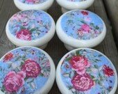 Set of 6 hand decorated wooden drawer knobs;  shabby chic roses- 1 1/2 inches diameter includes inside coupler and screws