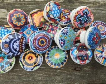 10 wooden drawer knobs; Talavera design  hand decorated (decoupaged)1 1/2 inches 10 knob