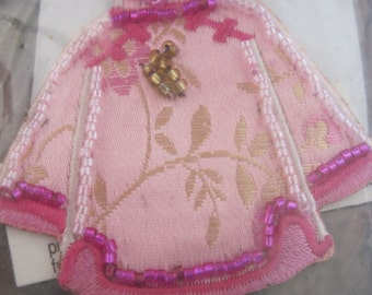 Hand Beaded Iron On Pink Kimono...Use on any material surface that can be ironed...from team FRU...HEART ATTACK...807h