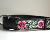 Dog Collar - Traditional Rose -  50% Profits to Dog Rescue