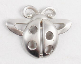 Vintage HUGE PIERRE CARDIN Lady Bug Brootch Statement Modernist Jewelry Brushed Steel
