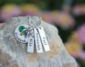 Hand Stamped Mothers SILVER CHARM NECKLACE - Blessed Necklace - Personalized Mothers Necklace - Custom Necklace - Hand Stamped Necklace