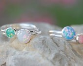 OPAL RING SET - 8mm and 6mm opal ring - Opal Stacking Ring - Skinny Opal Ring - Colorful Opals - Choose your Opal - Gemstone Ring - Ring