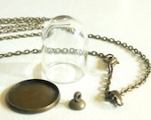 Glass Dome Bronze Necklace DIY Kit