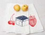 Tea Towel Set - Set of Three Fruit Flour Sack Towels