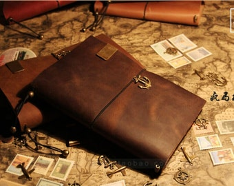A5  Leather Journal  Midori Traveler's Notebook  Refillable  Leather Notebook gift pack