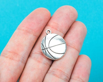 4 Double Sided Silver Tone Metal BASKETBALL Charm Pendants chs0153