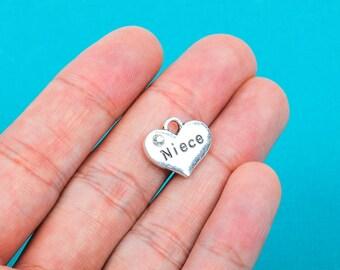 "1 Silver Tone Rhinestone "" Niece "" Heart Charm Pendant 16x14mm (5/8""x1/2"") chs0162a"