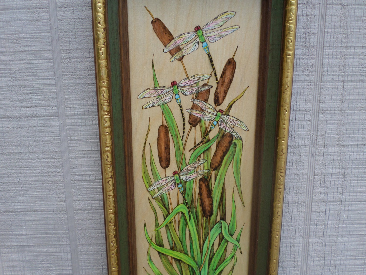 Dragonfly home decor dragonfly woodburn wall art home for Dragonfly mural