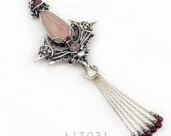 HATATH-ER  pastel necklace with pink chalcedone