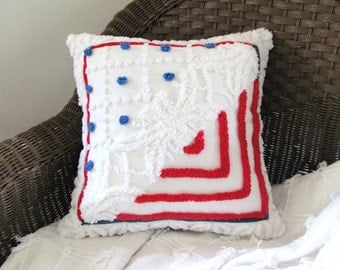 Red pillow cover, OLD GLORY patriotic pillow, American flag pillow case, blue vintage chenille, 16 X 16 red cushion cover, July 4th cushion