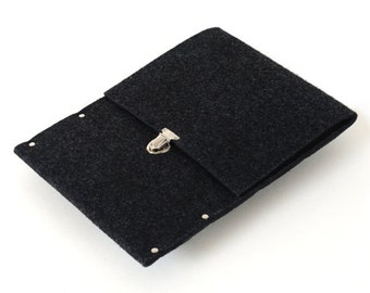 Black Bag for Microsoft Surface 3. Synthetic Felt Sleeve Cover. Handmade Quality Case fits with Type Cover.