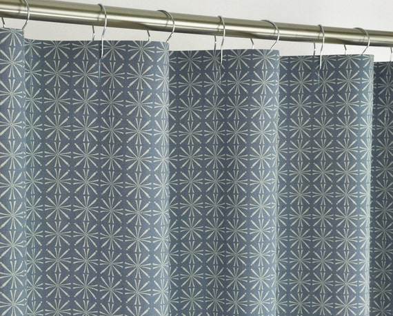 96 Long Denim Blue Shower Curtain 72 X 96 Long By Pondlilly