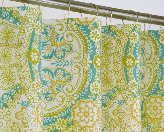 aqua suzani shower curtain extra long 72w x 72 84 by pondlilly