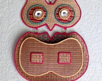 Vintage Woven Owl Letter Holder Paper Organizer