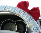 Steering Wheel Cover Bow, Anchor Steering Wheel Cover with Red Bow BF11236