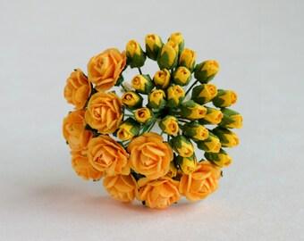30  Mixed   5 mm Orange  Paper Rose Buds / 10 mm Orange   Paper Roses