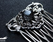 Ornate Hair Comb with Custom Color Gem - Victorian Hair Accessories - Gothic Jewelry