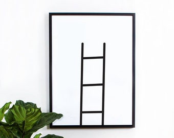 Geometric Print, Ladder Wall Art, Black and White, Wall Decor, Graphic Poster, Inspirational, Minimalist Art, Scandinavian