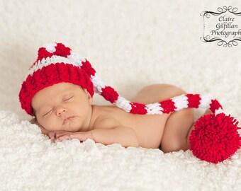 Newborn Santa Hat, Newborn Photo Prop, Newborn Christmas Hat, Cherry Red Santa Hat, Newborn Elf Hat, Long Tail Hat, Stocking Cap, Stripe Hat