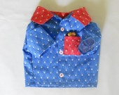 Small Camp style Dog Shirt - Red, White and Blue