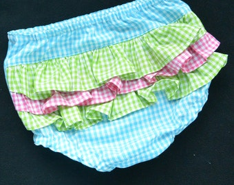 Diaper Cover, Baby or Toddler Gingham, Sizes Newborn to 24 Months