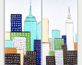 Original Abstract art- Urban Modern painting -Textured Painting- Home decor oil on canvas- Two Canvas City Skyline