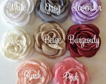 "Fabric Flowers Small 2.25"" - 5.5cm Soft Satin Rose flowers You Pick - wedding embellishment baby headband applique wholesale flower Heather"