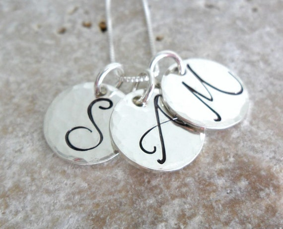 Initial Necklace | Script Initial Necklace | Sterling Silver Pendant | Sterling Silver Disc | Silver Initial Necklace | Three Initials