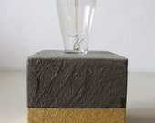 Concrete Resin And Gold Lamp