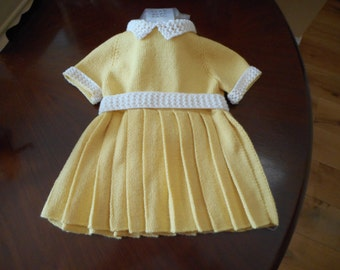 Hand Made Beautiful Pleated Toddler's Dress - Yellow Swiss Merino with Short Sleeves  Size 22 ins - Age 2 Year plus  Made in Scotland