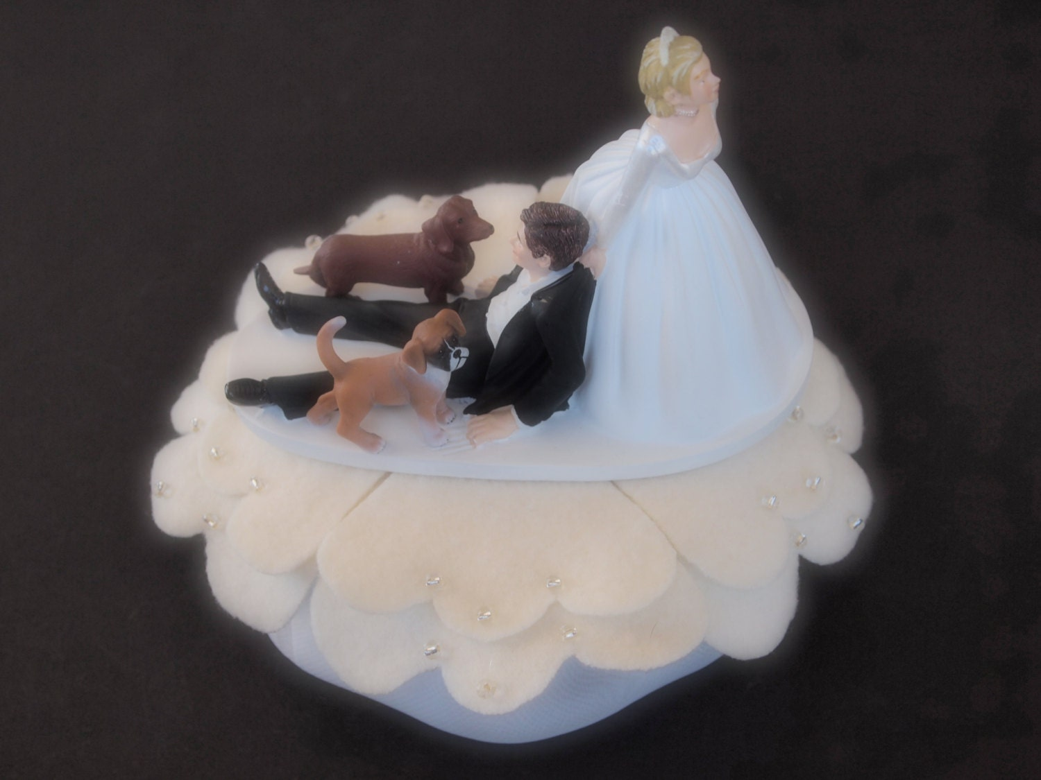 Wedding Cake Topper ical Bride and Groom Two Dogs Dachshund