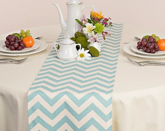 Choose your Table Runner, Blue Table Runner - Wedding Table Runner - Wedding Table Decor - Chevron Village Blue/Natural - 12 x 70
