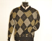 1960's Mens Wool Sweater Vintage Menswear Jumper Size Small Argyle Black, Gray & Olive Green V-Neck Pullover