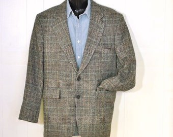Mens Jacket 42R Vintage Wool Plaid Blazer Sport Coat Dawahares From Kentucky, Make in USA Classic Menswear
