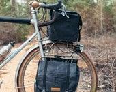 Black Highlands panniers // front touring panniers,  small commuter panniers