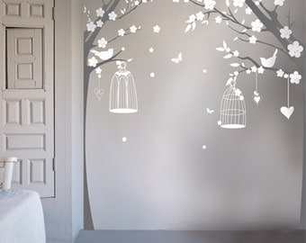 Vintage Bird Cage Trees Wall Stickers