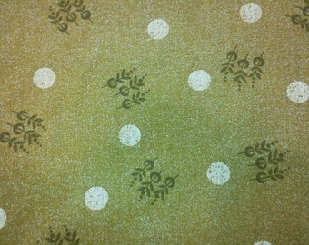 The moon and flowers, dusty brown-green, fat quarter, pure cotton fabric