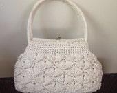 1960s White Rattan Purse by Forsum Japan // Straw Handbag // Summer Bag // Raffia Purse // Hand made in Japan