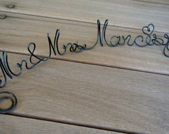 Rustic Wedding Table Sign, Personalized Mr Mrs Last Name