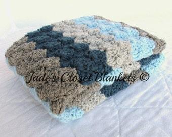 Crochet Baby Blanket, Baby Blanket, Blues and Greys, stroller travel pram size