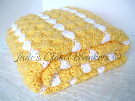 Crochet Baby Blanket, Baby Blanket, Crochet Yellow Baby Blanket, Yellow and White, travel size