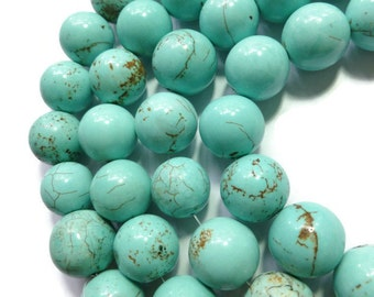 Blue Turquoise - Magnesite - 18mm round - 10 beads - Half Strand