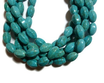 Blue Turquoise Magnesite - 6-sided Oval - 16mm x 10mm - Full Strand - 24 beads