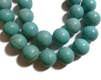 "Turquoise - Magnesite - 20mm Round - 11 beads - 9"" Strand"